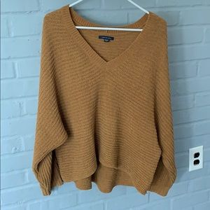 Camel colored chenille crop sweater